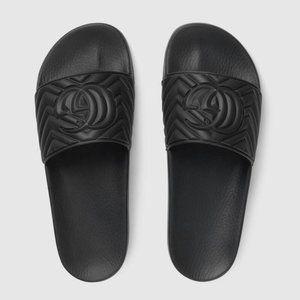 NWT Gucci Women's Matelasse Black Rubber Slides